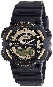 Casio Youth - Combination Analog-Digital Gold Dial Men's Watch - AEQ-110BW-9AVDF