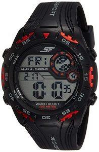 Sonata Digital Black Dial Men's Watch-NK77068PP01