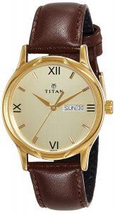 Titan Karishma Analog Champagne Dial Men's Watch - NE1580YL05