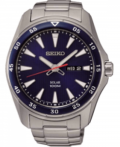 Seiko SNE391P1 Solar Stainless Steel Analouge Blue Dial Men's Watch