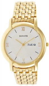 Sonata Analog White Dial Men's Watch - NF7954YM01J