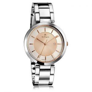 Titan Ladies 2480KM01 Neo-Ii Analog Rose Gold Dial Women's Watch