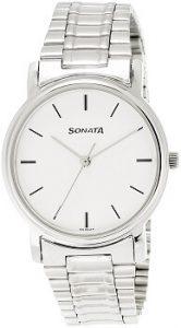 Sonata ND1013SM01 Analog White Dial Men's Watch