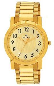 Titan Analog Gold Dial Men's Watch - 1647YM02