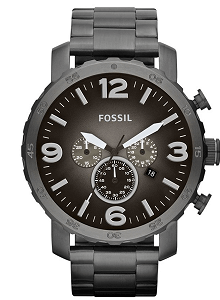 Fossil Nate Chronograph Grey Dial Men's Watch - JR1437