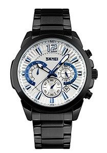 Skmei Full Stainless Steel 50 M Waterproof Chronograph Watch For Men
