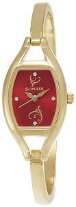 Sonata Analog Red Dial Women's Watch -NK8114YM01