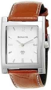 Sonata Analog White Dial Men's Watch -NK7925SL03