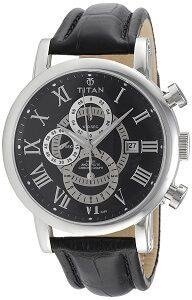 Titan Classique Chronograph Black Dial Men's Watch - NE9234SL02J