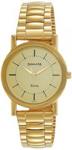 Sonata Analog Champagne Dial Watch-77049YM01C