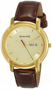 Sonata Wedding Collection Analog Champagne Dial Men's Watch - 7954YL11
