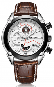 Megir Director's Fiery White 3D Sculpted Dial Chronograph Watch